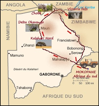 carte msiafricaroadtrip.com de notre parcours au Botswana