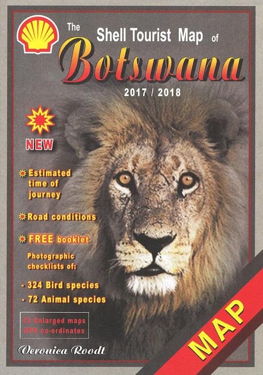 photo de la carte source le site namibiana.de : En ce qui concerne le Botswana, il est indispensable de compléter avec la carte suivante : ( auteur : Roodt Veronica )  The Shell tourist Map of Botswana. Nous l'avons acheté à l'adresse suivante : https://www.namibiana.de