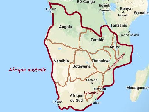 une carte géographique de l'Afrique, délimitant d'un trait en rouge l'Afrique australe. A l'intérieur du trait rouge les pays de l'Afrique australe, délimitant d'un trait marron  les frontières des ces pays : l'Afrique du sud, Botswana, Namibie, Lesotho, Zimbabwe, Zambie, Angola,Mozambique, Malawi, Swaziland.