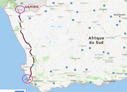 carte créer par msiafricaroadtrip.com notre parcours le Cap frontière Namibie