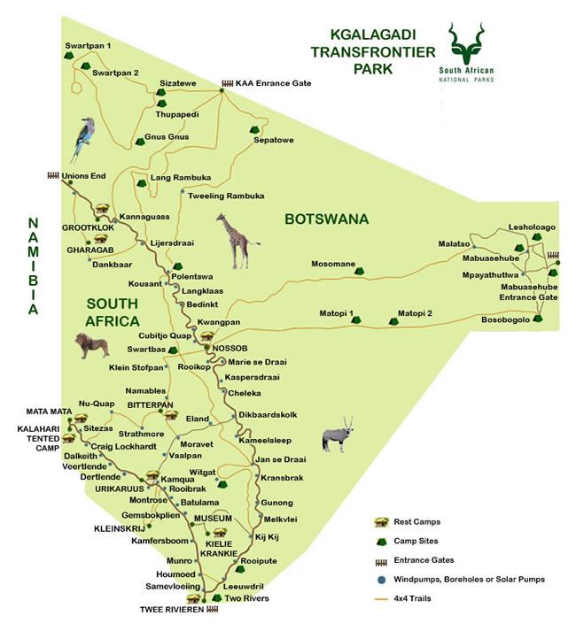 carte du parc Kgalagadi Transfrontier park