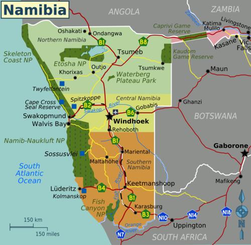 carte de la Namibie avec les parcs et réserves
