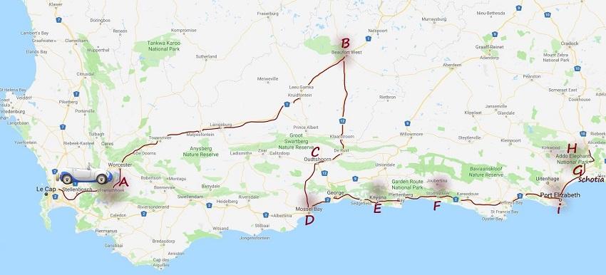 carte créer par msiafricaroadtrip.com parcours du Cap jusqu'à Addo Eléphant Afrique du Sud.