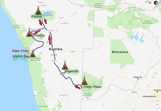 photo : carte réaliser par msiafricaroadtrip.com notrs parcours de Mata-Mata Afrique du Sud à Cape Cross Walvis Bay en Namibie.