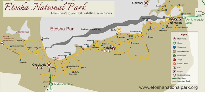carte du parc National d'Etosha en Namibie
