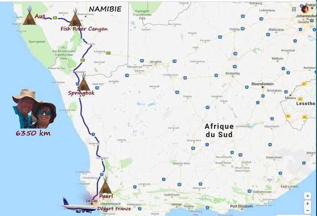 carte réaliser par msiafricaroadtrip.com parcours de Aus en Namibie jusqu'à Spingbock en Afrique du Sud.