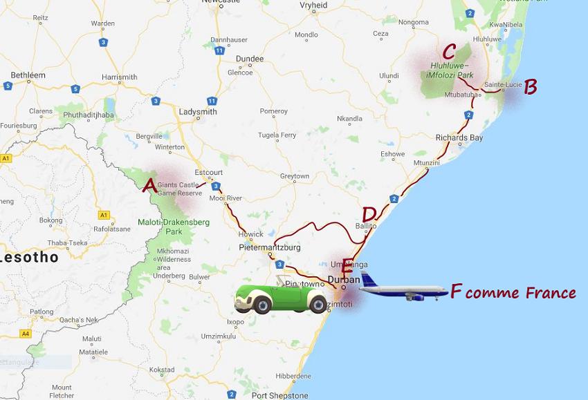 """carte msiafricaroadtrip.com Durban à Giant's castle à sainte Lucia au Park Hulhuwe et Imfolosi à Balito hôtel """"Fairmont Zimbali Resort"""" à Durban Afrique du Sud"""