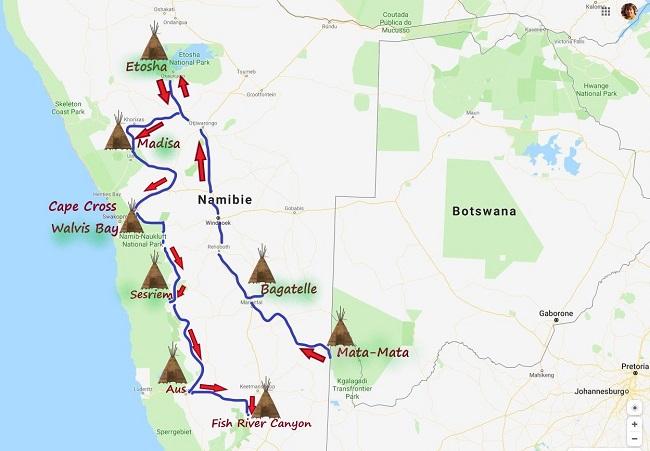 CARTE REALISER PAR MSIAFRICAROADTRIP.COM : Notre parcours de Mata-Mata en Afrique du Sud au Fish River Canyon en Namibie