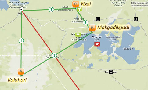 carte du parc Makgadikgadi Botswana