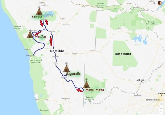 carte msiafricaroadtrip avec notre parcours Mata-Mata Etosha Namibie
