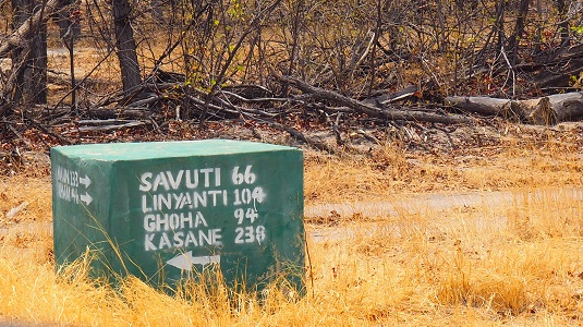 bite d'indication kilométrique Savuti Lyanti Ghoha Kasane botswana