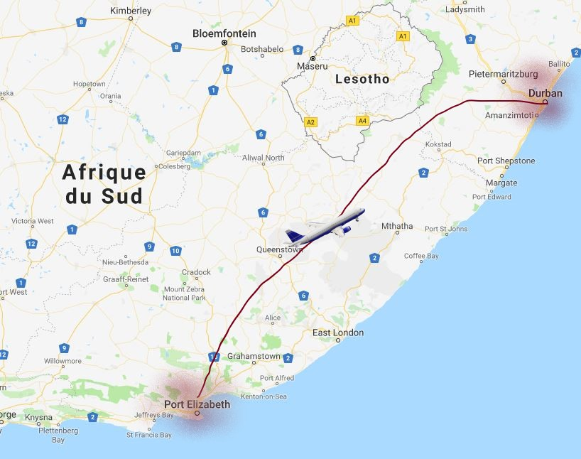 carte Port-Elizabeth pour prendre l'avion vers Durban. Afrique du sud