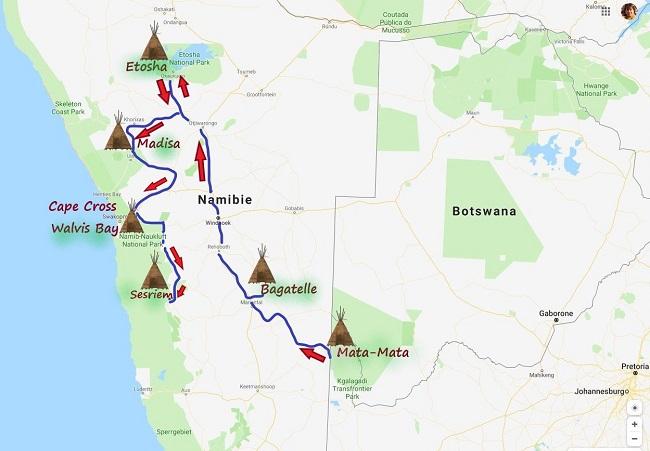 photo : carte réalisé par msiafricaroadtrip.com notre parcours de Mata-Mata KTP Afrique du sud à Walvis Bay Namibie