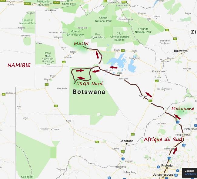 carte réaliser par msiafricaroadtrip.com notre parcours de pretoria en Afrique du sud au CKGR BOTSWANA