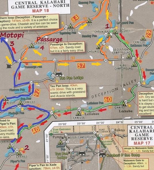 carte shell notre parcours Motopi à Passarge ckgr botswana
