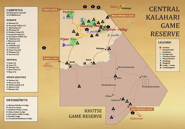 Carte source : le CKGR msiafricaroadtrip.com Notre parcours dans le CKGR (Nord) et les campsites où nous avons dormi.