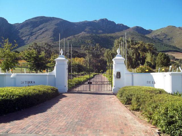"""l'entrée de la la Guesthouse """"Terra de Luc"""".à Franschhoek Afrique du Sud"""