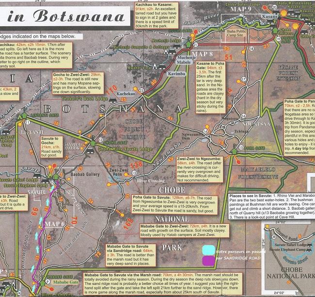 Source : carte Shell notre parcours Maun jusqu'à SAVUTI Botaswana
