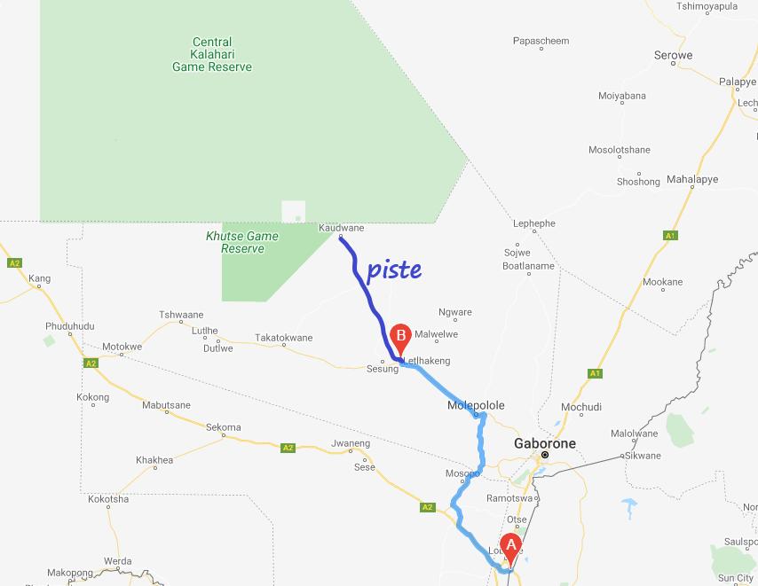 carte de notre parcours pour atteindre Khuste Game Reserve. Msiafricaroadtrip.com