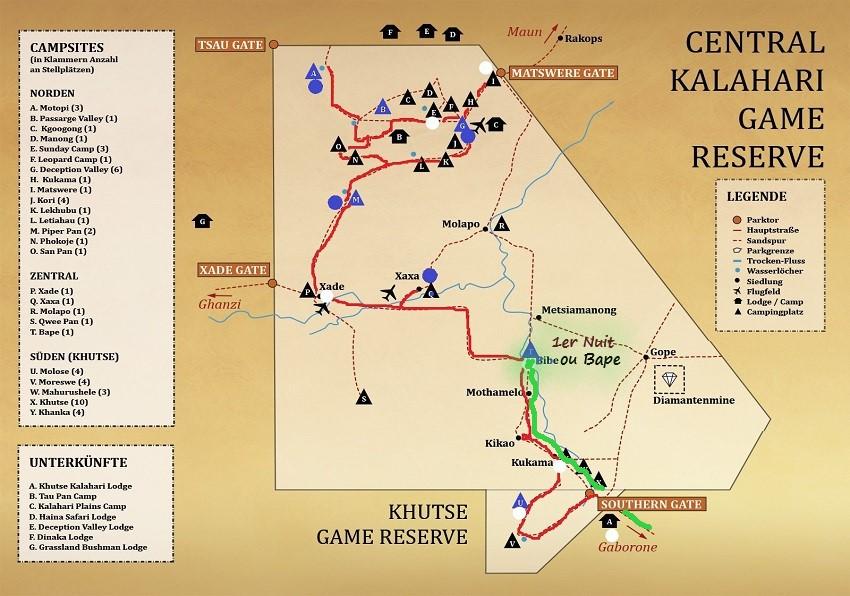 Carte du CKGR le début de notre parcours. Kalahari Botswana. msiafricaroadtrip.com