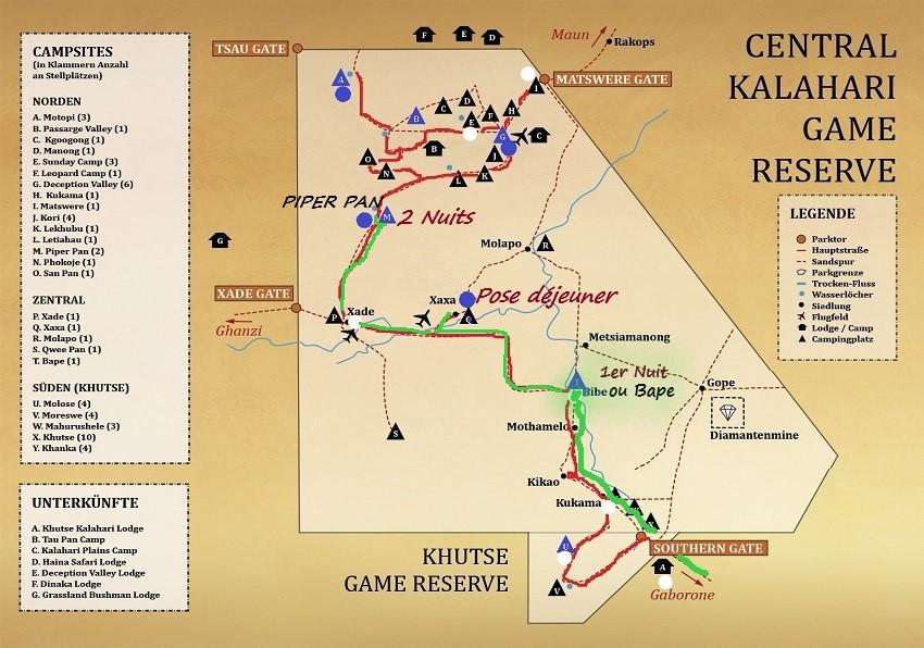 notre parcours jusqu'au campsite Piper Pan . Msiafricaroadtrip.com